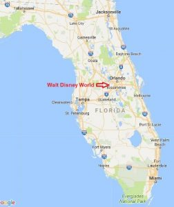 Map of Florida with arrow pointing to WDW