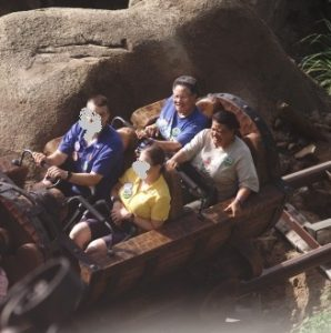 The mine train ride, scary for some and just plain fun for others
