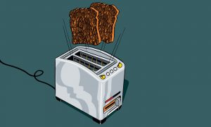 image of a toaster with two slices of bread popping out and above it
